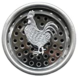 Oliveri Sinks The Elegant Sink Strainer - Decorative Pewter Top - Rooster ~ Stainless Steel Basket with Stopper, Strains and Plugs any Standard Kitchen Drain (3.25
