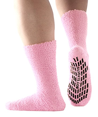 Best Large Fuzzy Socks Hospital Socks Non Skid/Anti Slip Grip Socks For Women - Baby Pink, XL