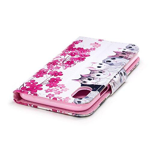Coque iPhone X Des chats mignons Portefeuille Fermoir Magnétique Supporter Flip Téléphone Protection Housse Case Étui Pour Apple iPhone X / iPhone 10 (2017) 5.8 Pouce Avec Deux cadeau