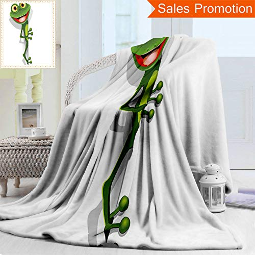 """Lizard Little Bed Twin (Unique Double Sides 3D Print Flannel Blanket Cartoon Decor Collection Jolly Frog With Greater Eye Lizard Gecko Smily Childish Funny Ca Cozy Plush Supersoft Blankets for Couch Bed, Twin Size 60"""" x 70"""")"""