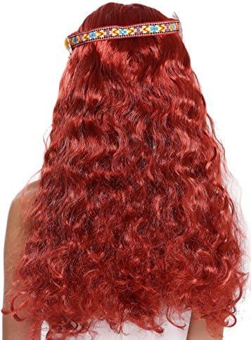 WIG ME UP /® 91298-ZA103 Parrucca Donna Uomo Carnevale Halloween Figlio Die Fiori Hippy Anni 60 e 70 Lunga Nero Ondulata Riga in Mezzo Fascetta Fronte Fiore