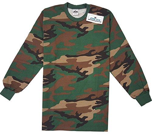 John Son Men's Super Heavy Weight Long Sleeve Winter Crewneck Camo Thermal Top (1XL, Army Camo)