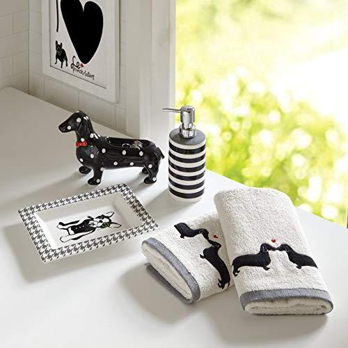 MISC 5-Piece Bathroom Accessory Set Black White Grey Dog Theme, Two Dachshund Towels Striped Soap Dispenser Polka Dot Dachshund Tray Herringbone Boston Terrier Trinket Dish, Animal Novelty Sets