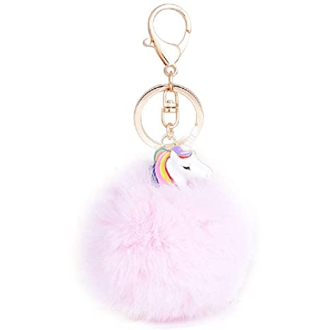 Pinzhi creativos Pom Pom pelota llavero, unicornio Fluffy Keychain ...