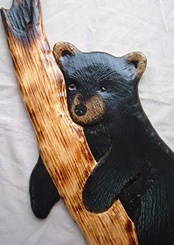 Black bear wood carving wall art cabin decor sculpture