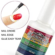 Perfect Summer 15ml Peel Off Nails Art Manicure Prime Liquid Tape Base Coat Palisade Easy Tear Glue Latex Gel Nail Polishes Finger Skin Protected Care Cream (white) with Nail Tweezers