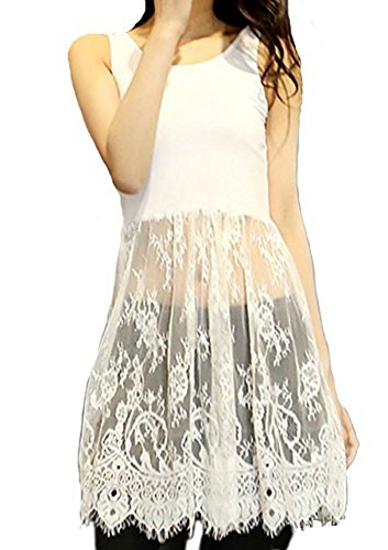 Women Lace Trimmed Top Extender Extra Long Tank Vest Dress (Large, White)