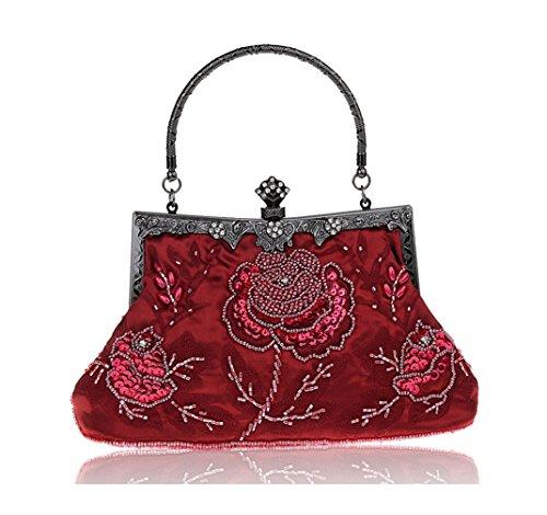 Rose Pour Parfait Bordeaux Soirée Femme Fleur Bal Sac de Pochette Main Perlé Cabas Mariage à Motif 15zRqvx