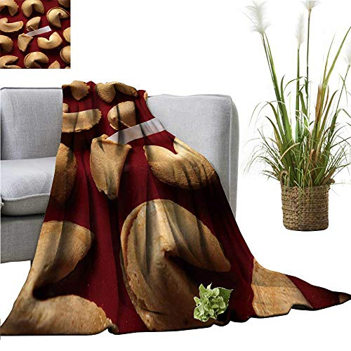 YOYI Travel Blanket Fortune Cookies on re backgroun White bl k Paper Easy to Carry Blanket 60