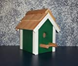 Rustic Cedar Roof Primitive Birdhouse. This Primitive Birdhouse Is a Great Match for Your Country Home and Garden Landscape Design. Your Feathered Friends and the Bird Lovers in Your Life Will Be Delighted with It. It's an Amish Country Collectible. Measures 9 3/4″ H X 6 1/4″ W X 6 1/4″ D.