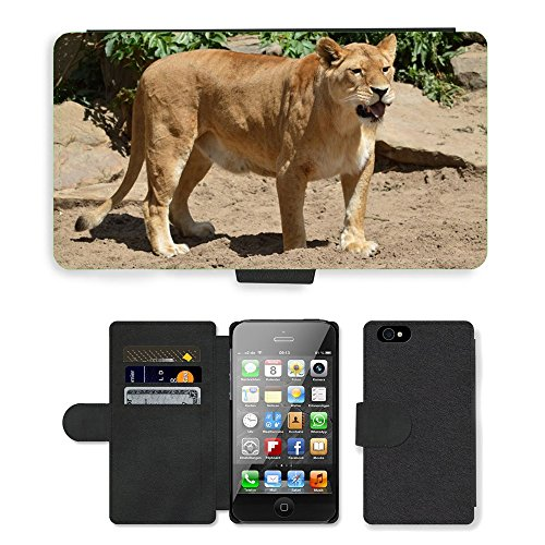 Just Phone Cases PU Leather Flip Custodia Protettiva Case Cover per // M00128519 Lion Lionne Wildlife Animal Hunter // Apple iPhone 4 4S 4G