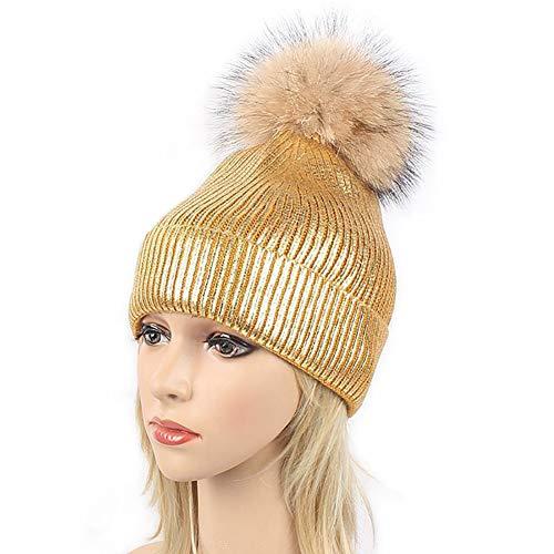 lic Shiny Knitted Beanie Hats with Pom Pom Winter Ski Cap (Gold) ()