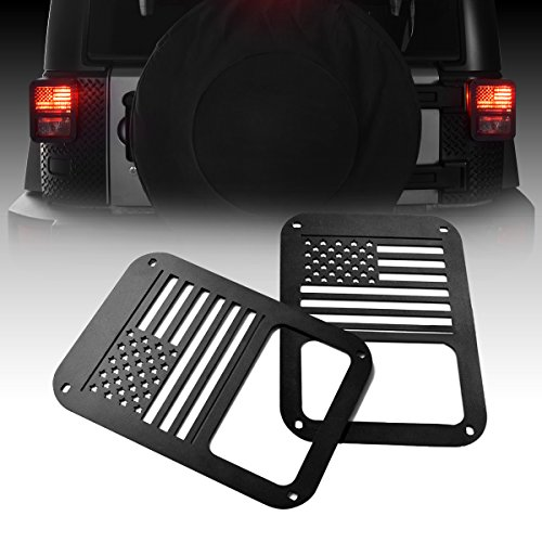 ICARS USA Flag Rear Tail Lamp Light Cover Trim Guards Protector Jeep Wrangler Accessories Sport X Sahara Unlimited Rubicon 2007-2017 – Pair