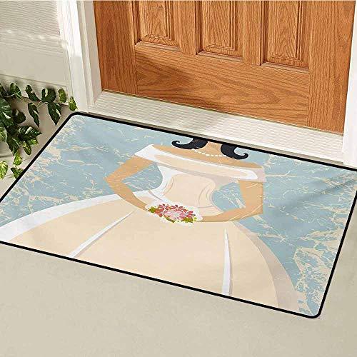 Bridal Shower Front Door mat Carpet Grunge Sketchy Design Backdrop Wedding Bride Dress Vintage Artwork Machine Washable Door mat W19.7 x L31.5 Inch Pale Blue and White -