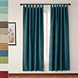 ChadMade 120″ W x 102″ L Blue Luxury Textured Faux Linen Window Curtain, Tab Top Solid Thermal Insulated Panel Drapes (1 Panels) Review