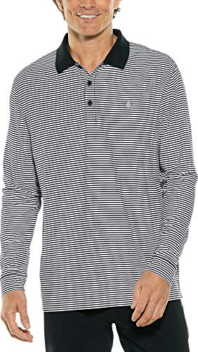 Coolibar UPF 50+ Men's Long Sleeve St. Andrews Golf Polo - Sun Protective (Medium- Fine Black/White Stripe)
