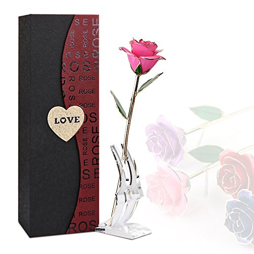 Rose Flower, 24K Eternal Golden Plated Rose in Gift Box with Clear Display Stand, Best Gift for Valentine's Day, Mother's Day, Anniversary, Birthday (Pink)