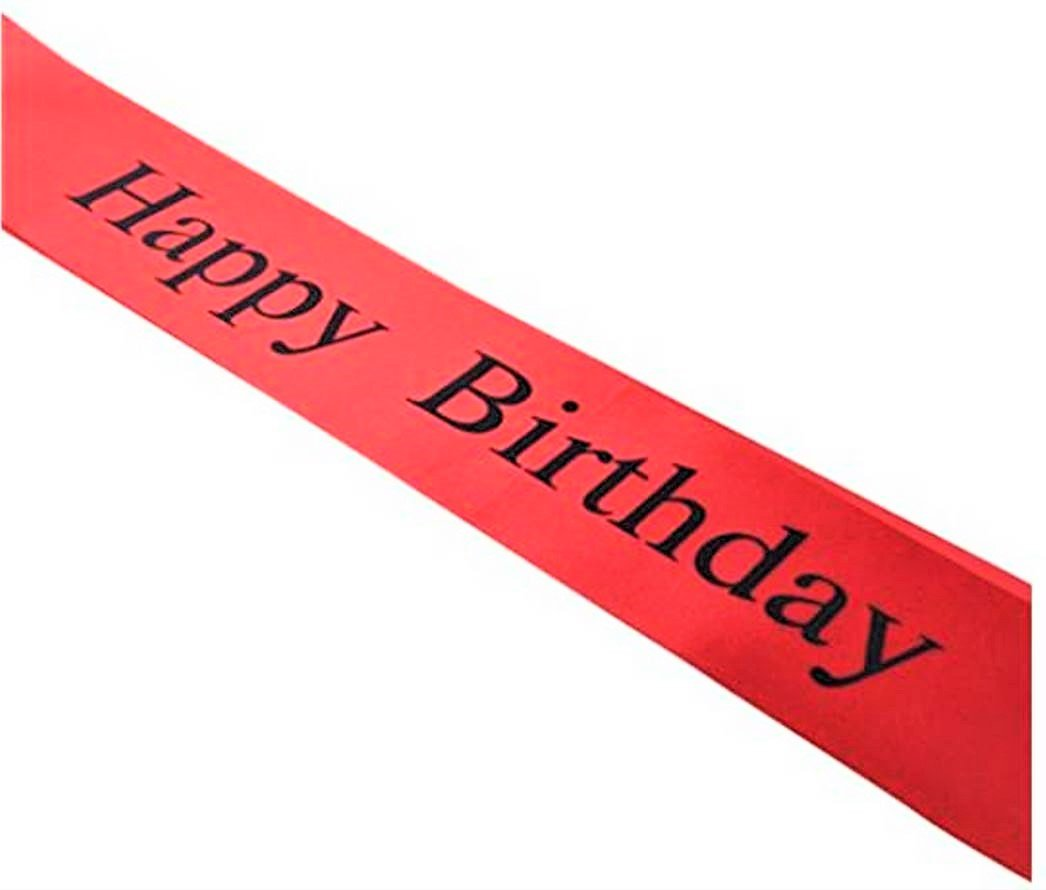 Party Favors Elegant Red Happy Birthday Sash 21st Perfect for 18th 30th 40th Birthday Parties Supplies and Decorations