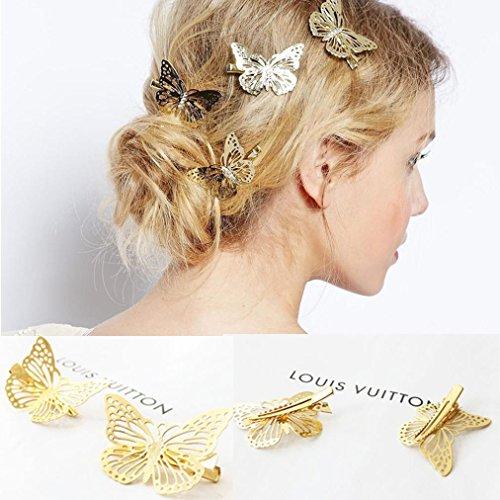 (Botrong Hair Clip, 1 Pair Shiny Gold Butterfly Hair Clip Headband Hair Accessories Headpiece)