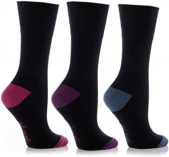 6 Pairs Ladies Sock Shop Gentle Grip Contrast Heel and Toe Socks with honeycomb top Size 4-8