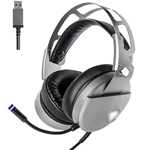 51u22vuSjAL - Gaming Headset with Mic for PC Mac Laptop Tablet, USB Stereo Over Ear Wired Surround Sound Computer Headphones, Noise Canceling Volume Control Enhanced Bass with LED Light (Silver)