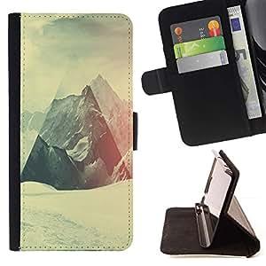 Momo Phone Case / Flip Funda de Cuero Case Cover - Geometría de la montaña Nevado;;;;;;;; - Samsung Galaxy J3 GSM-J300