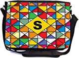 Rikki Knight Letter S Monogram Vibrant Colors Stained Glass Design Design Combo Multifunction Messenger Laptop Bag - with Padded Insert for School or Work - Includes Wristlet & Mirror