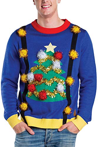 Tipsy Elves Men's Tacky Christmas Sweater - Christmas Tree Sweater with Suspenders Size XXL Blue (Sweater Ugly Competition Christmas)