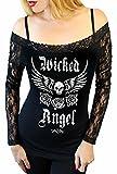 Sexy Off Shoulder Lace Biker Motorcycle Angel Wing Top ~Black