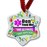 Personalized Name Christmas Ornament, Medical Alert Purple I have Allergies NEONBLOND