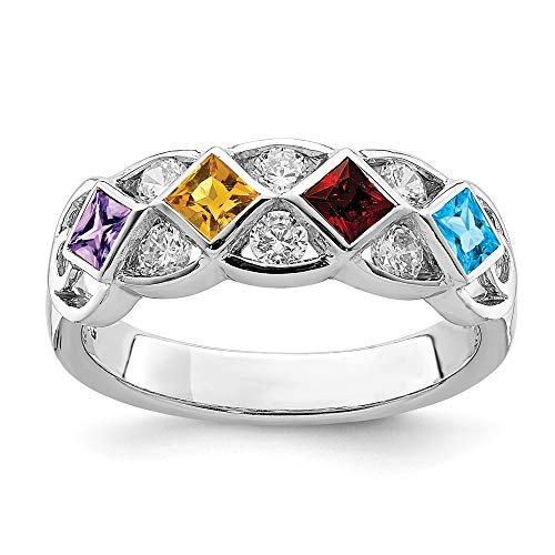 925 Sterling Silver Cubic Zirconia Cz Purple Amethyst Yellow Citrine Red Garnet Blue Topaz Band Ring Size 7.00 Gemstone Fine Jewelry Gifts For Women For Her
