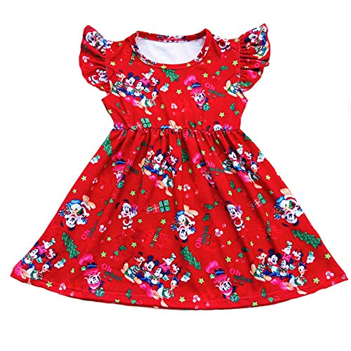 Christmas Cartoon Mouse Duck Holiday Printed Children Dress Girls Clothes Short Sleeve Boutique Dress Milksilk (red, 2T)