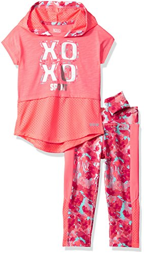 (XOXO Girls' Toddler 3 Piece Performance Top & Legging Set, neon Coral Multi 4T)