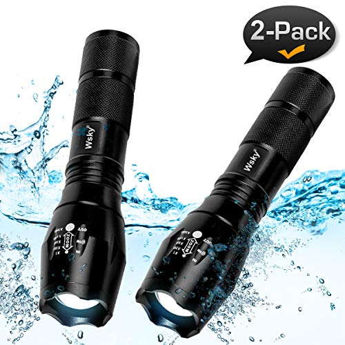 Wsky LED Tactical Flashlight - Best 1800X Powerful Waterproof Flashlight With High Lumen, 5 Modes, Zoomable, Perfect for Camping Biking Home Emergency or Gift-Giving (Batteries Not Included)