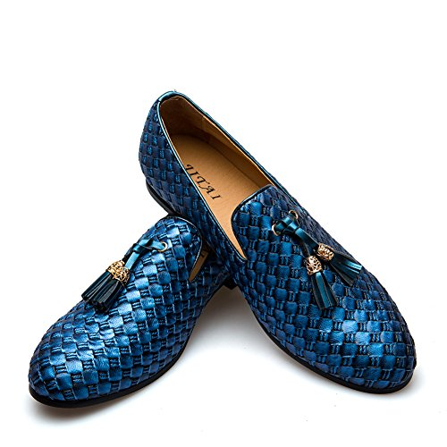 (Men's Vintage Velvet Bv Embroidery Noble Loafer Shoes Slip-on Loafer Smoking Slipper Tassel Loafer (11.5 D (M) Us, Blue))