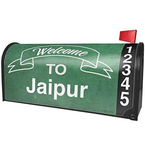 - NEONBLOND Green Sign Welcome to Jaipur Magnetic Mailbox Cover Custom Numbers