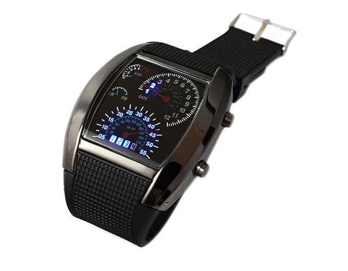 Turbo Blanco Azul Binario LED de matriz de puntos exhibición de múltiples funciones del reloj de la Aviación - Dial Negro / Blanco Dial: Amazon.es: Relojes