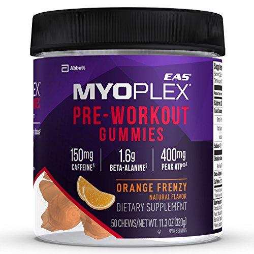 EAS Myoplex Pre-workout Gummies, Orange Frenzy, 50 (Eas L-glutamine Powder)