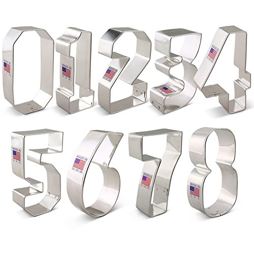 Numbers Cookie Cutter Set - 9 piece - Ann Clark - Tin Plated Steel (Metal Number Cookie Cutters)