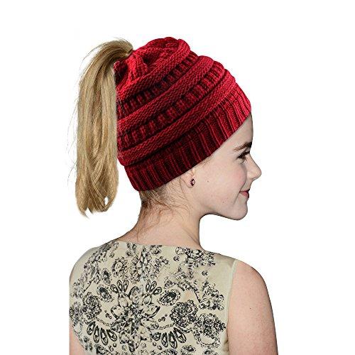 Hootech Winter Warm Knitted Ponytail Beanie Hat Messy High Bun Beanie Soft Stretch Cap (Red)