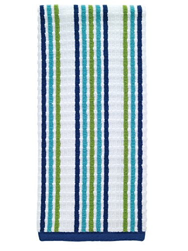 T-fal Textiles Striped Waffle 100% Terry Cotton, Highly Absorbent, Anti-Microbial, Oversized Kitchen Towel, 16