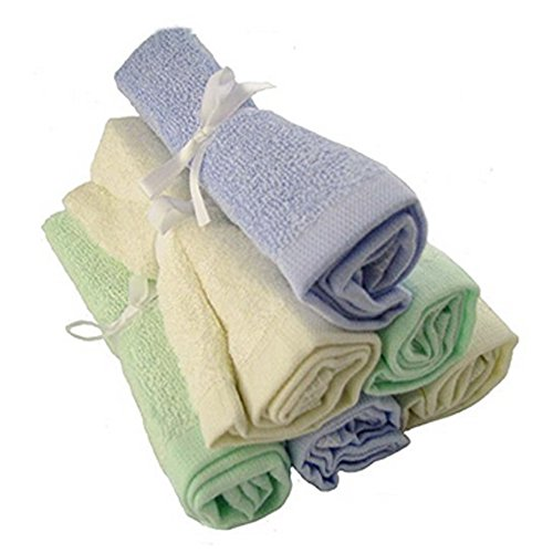 Unicorn Station Hypoallergenic Bamboo Baby Washcloths, Large, Pack of 6