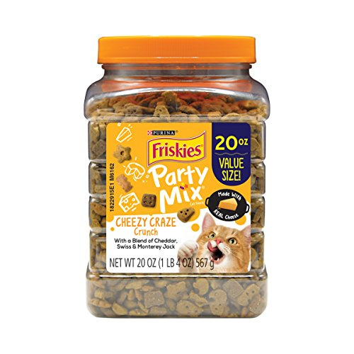 Purina Friskies Made in USA Cat Treats; Party Mix Cheezy Craze Crunch - 20 oz. Canister