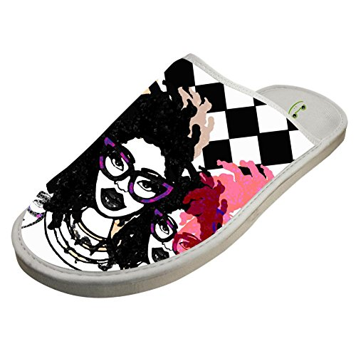 Slippers with Afro Africa Girl Custom Indoor Sandals Adults Shoes Flat Winter Sleeppers 11 B(M) US by JLL-HITOLY