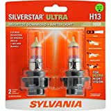 SYLVANIA - H13 SilverStar Ultra - High Performance Halogen Headlight Bulb, High Beam, Low Beam and Fog Replacement Bulb, Brightest Downroad with Whiter Light, Tri-Band Technology (Contains 2 Bulbs)