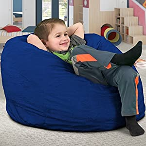 Ultimate Sack Kids Sack Bean Bag Chair: Giant Foam-Filled Furniture - Machine Washable Covers, Double Stitched Seams, Durable Inner Liner, and 100% Virgin Foam. Kids Bean Bag. (Electric Blue, Suede)