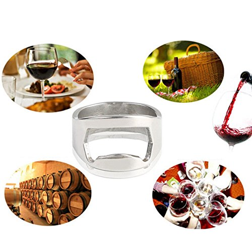 (1 Set Stainless Steel Finger Thumb Ring Shape Bottle Opener Keychains Pocket Key Rings Chains Wrist Holder Strap Perfect Popular Wine Openers Wall Mounted Corkscrew Vintage Utility Travel Accessories)