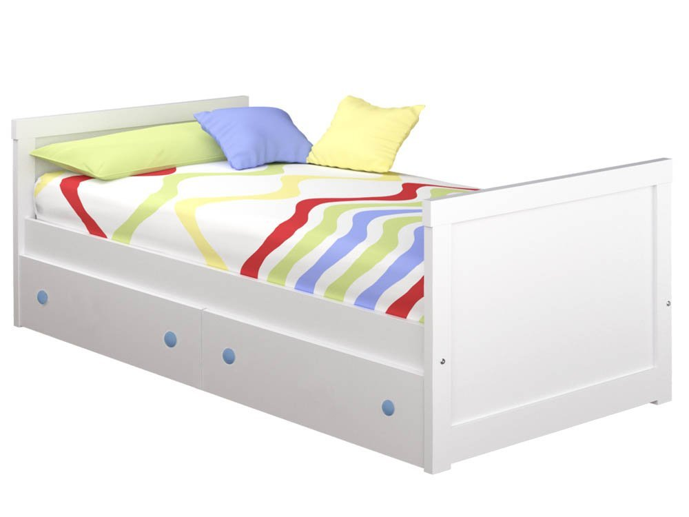 ATLAMP Gerader Kinderbett mit Schubladen Colchón de 90 x 190 Rosa Blau Colchón de 105 x 190