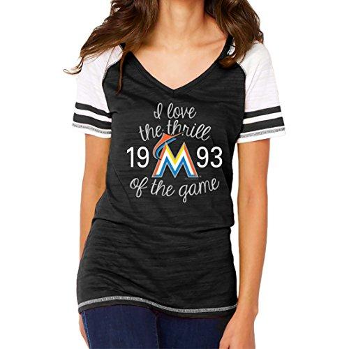 MLB Miami Marlins Women's Color Block Tee, Large, Black