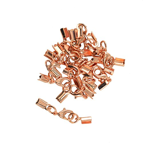 MonkeyJack 12 Set Wholesale 12mm Lobster Claw Clasp Leather Fold Over Crimp Clip Ends for DIY Findings Jewelry - Rose - Rose Connector